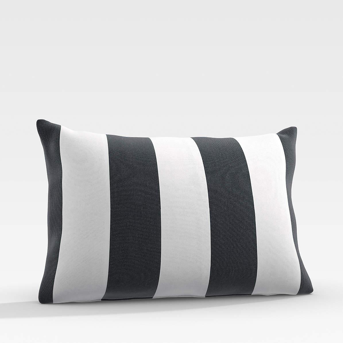 Sunbrella Cabana Stripe Navy Outdoor Lumbar Pillow + Reviews ...
