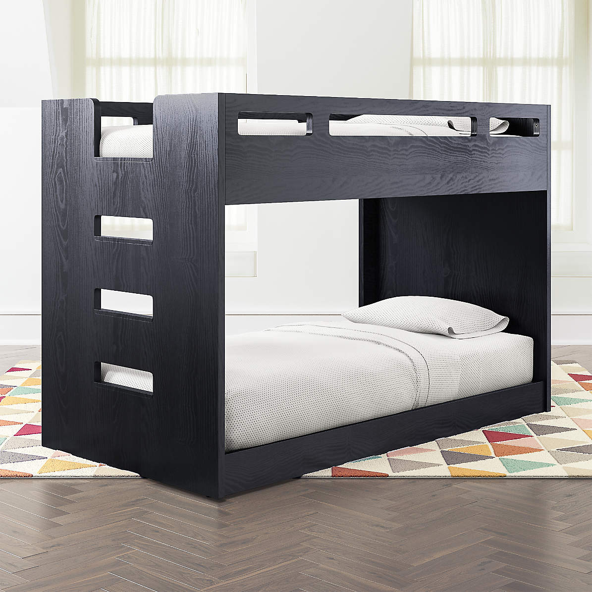 Abridged Charcoal Glaze Low Twin Bunk Bed With Left Ladder Reviews Crate Kids Canada