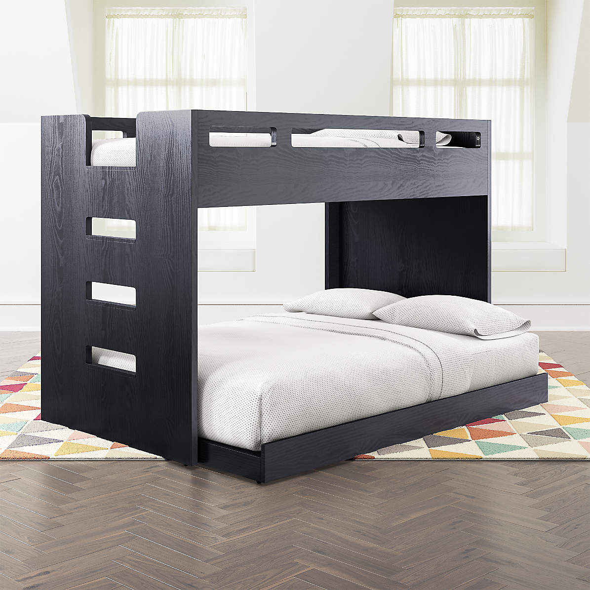 Abridged Charcoal Glaze Twin Over Full Bunk Bed With Left Ladder Reviews Crate Kids