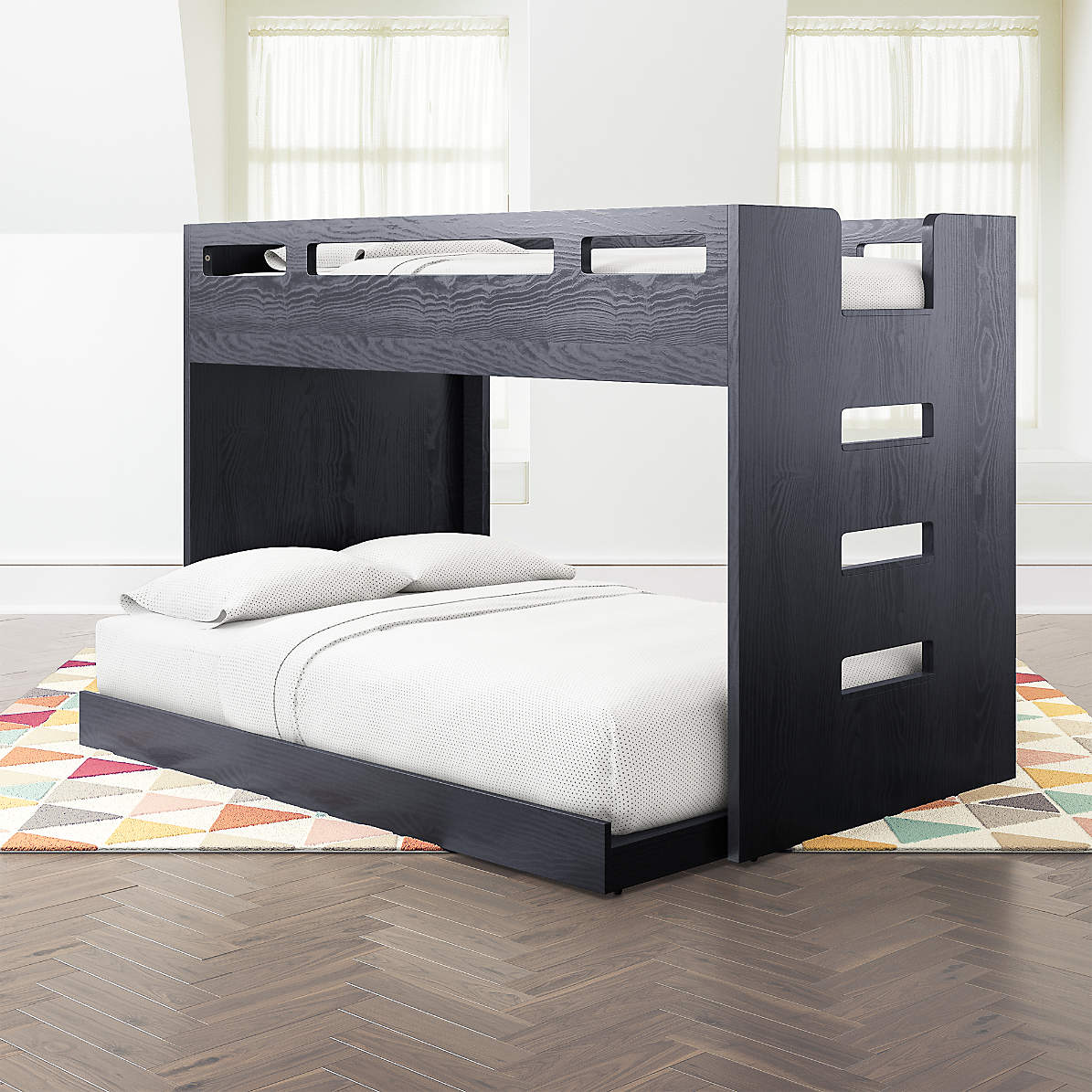 Abridged Charcoal Glaze Twin Over Full Bunk Bed With Right Ladder Reviews Crate Kids