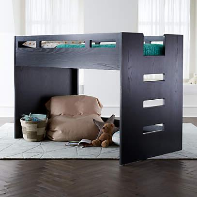 Abridged Charcoal Glaze Low Twin Loft, Loft Bed Curtains Canada