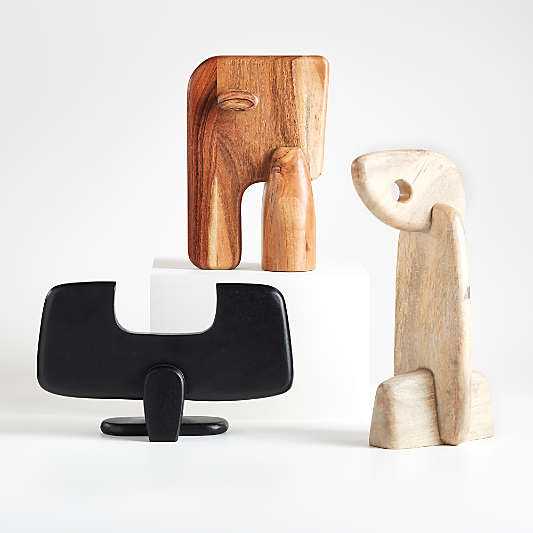 Abstract Wood Animal Sculptures