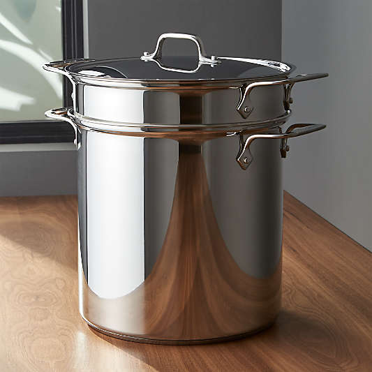 All-Clad ? Stainless Steel 12 qt. Multipot with Perforated Insert and Steamer Basket