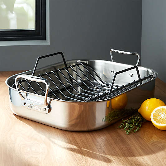 """All-Clad ? Stainless Steel Large 16"""" Roaster with Rack"""