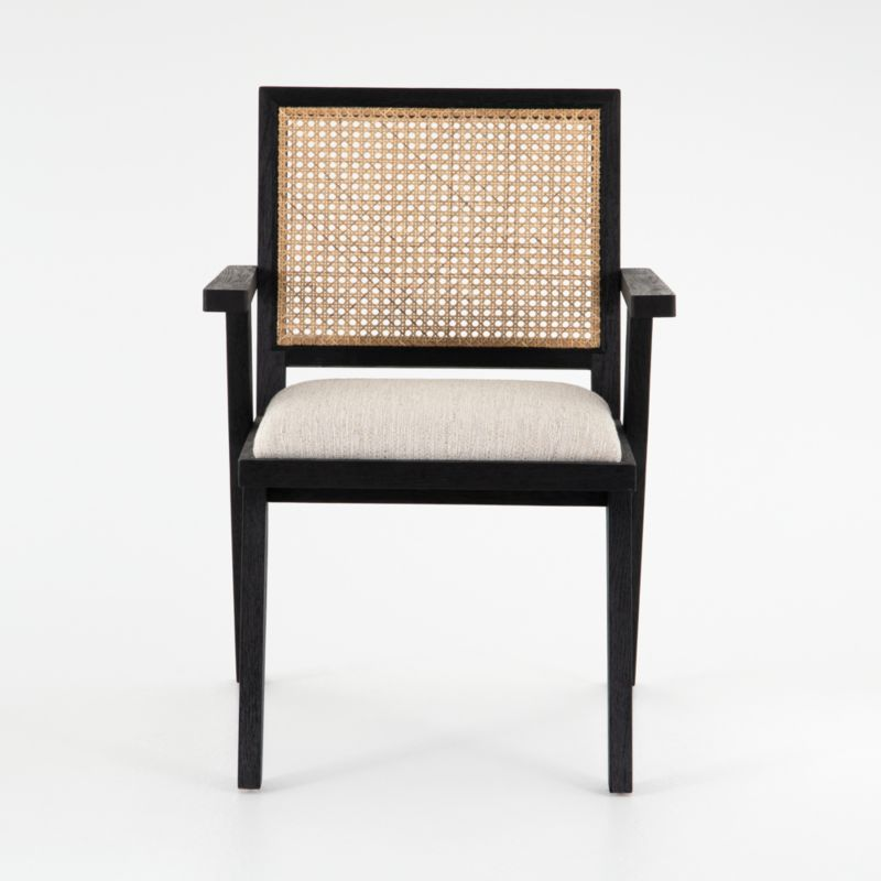 Annette Black Upholstered Cane Dining Chair Crate And Barrel