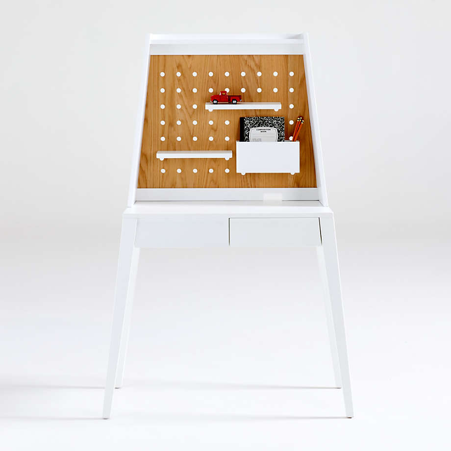 Atticus Small White Desk with Power & Hutch (Open Larger View)