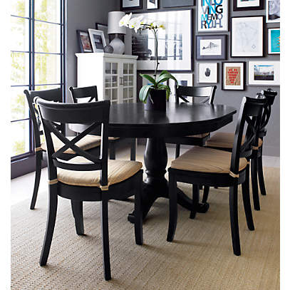 Avalon 45 Black Round Extension Dining, Round Dining Table Set With Extensions