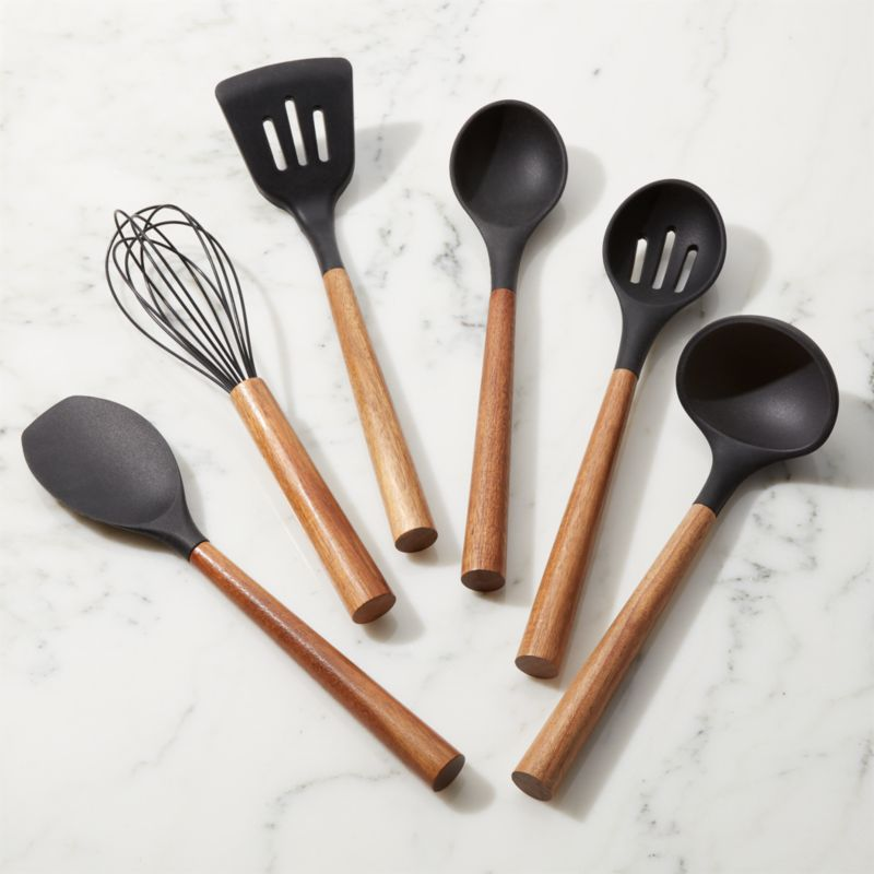 Black Silicone Utensils With Acacia Handle Crate And Barrel