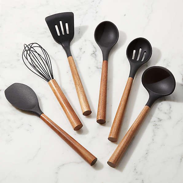 Silicone Spatulas for Cooking Non Stick Spatula for Baking Silicone Balloon Whisk Silicone Brush Five Piece Kitchen Utensil Set Black