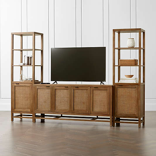 """Blake Grey Wash 68"""" Media Console with 2 Tall Cabinets"""