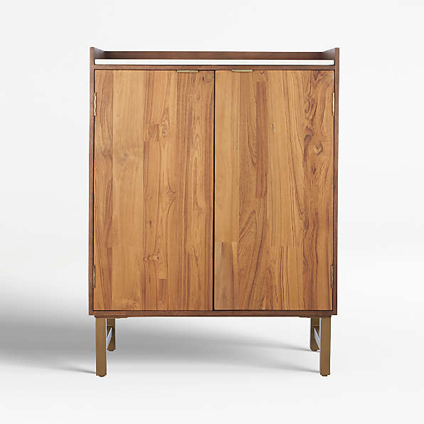 Home Bar Storage Crate And Barrel, Liquor Cabinet Lockable