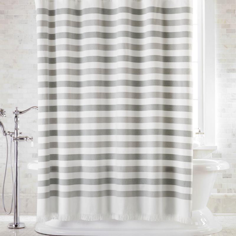 Cedros Grey Stripe Fringe Shower, Shower Curtains Gray And Beige