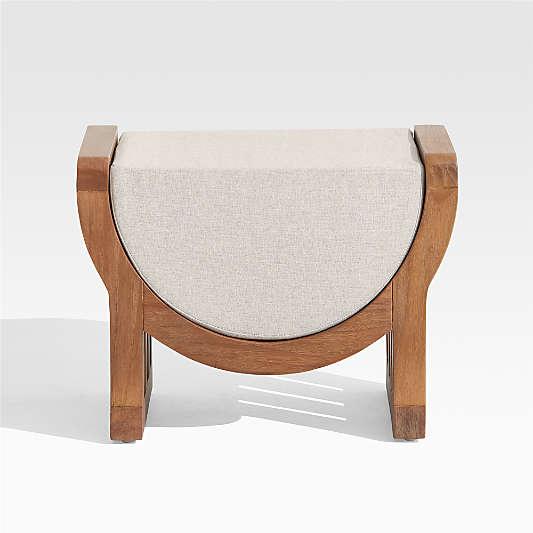 Chapala Outdoor Teak Ottoman with Cushion