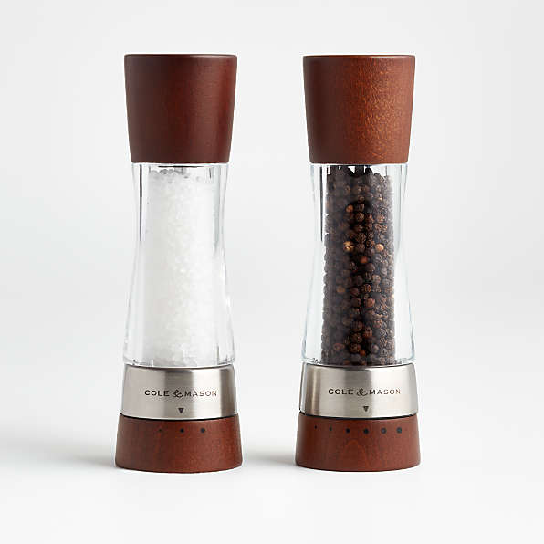 Wood Pepper Mill and Salt Shaker Set with Copper Detail