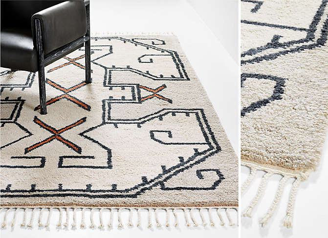 Cortada Wool Patterned Beige Rug
