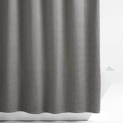 organic cotton waffle slate shower curtain