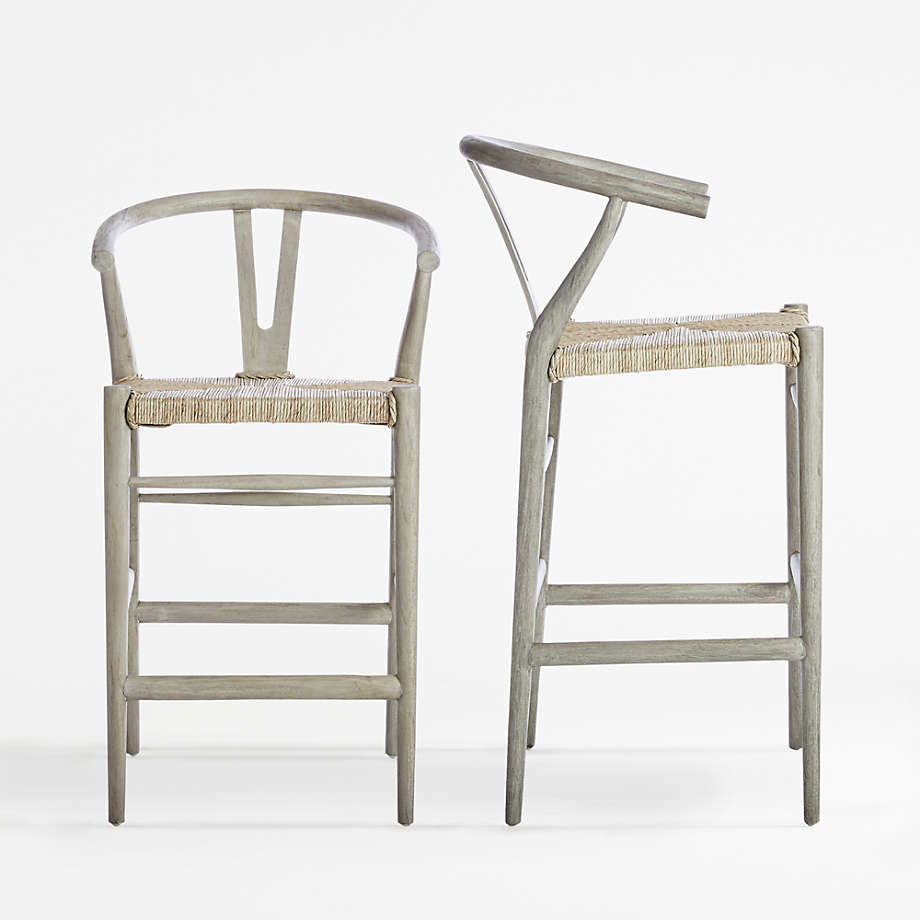 Crescent Weathered Grey Wishbone Counter Stool + Reviews   Crate ...