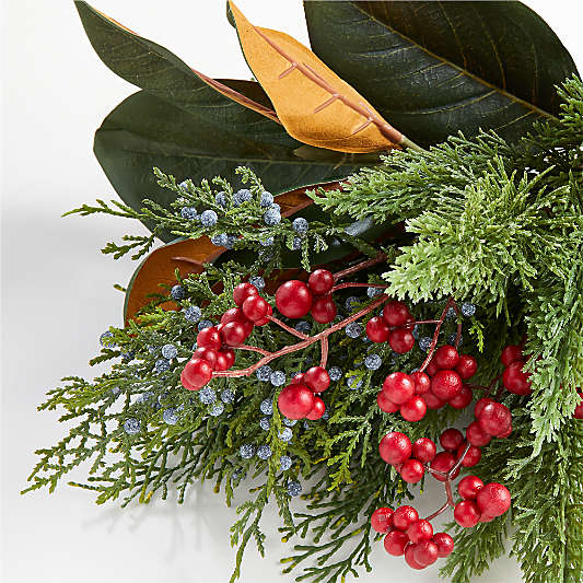 Faux Cypress and Berry Leaf Bunch