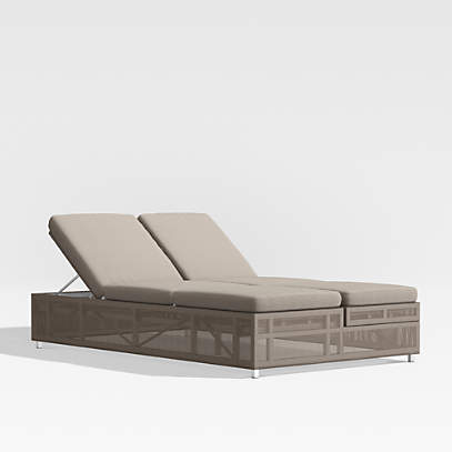 Dune Taupe Double Outdoor Patio Chaise, Double Chaise Lounge Outdoor