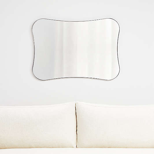 Edge Silver Pinched Rounded Corner Mirror