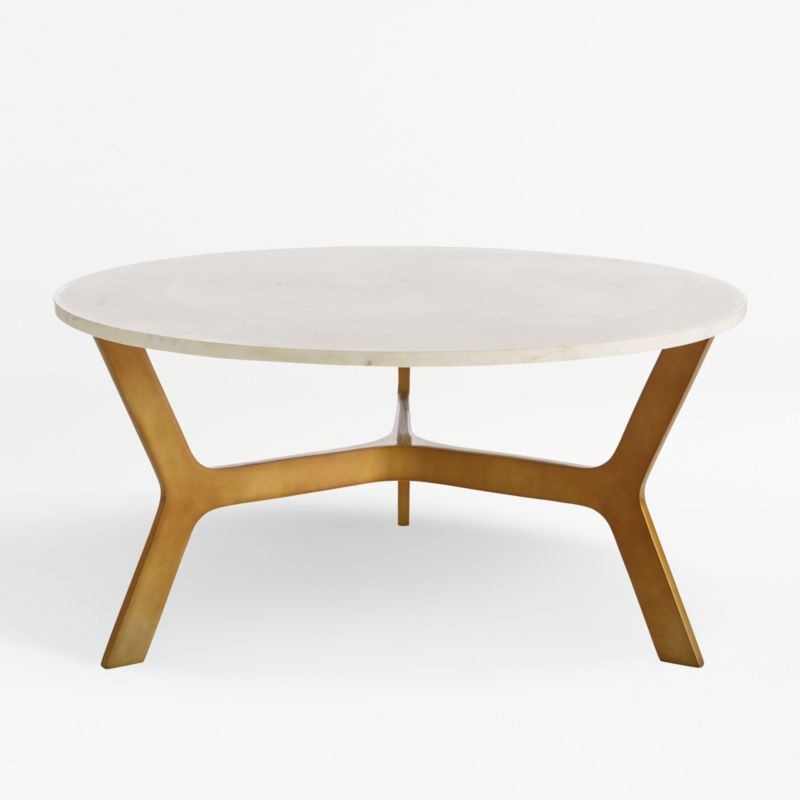Elke Round Marble Coffee Table With, Round Metal Outdoor Coffee Table Canada