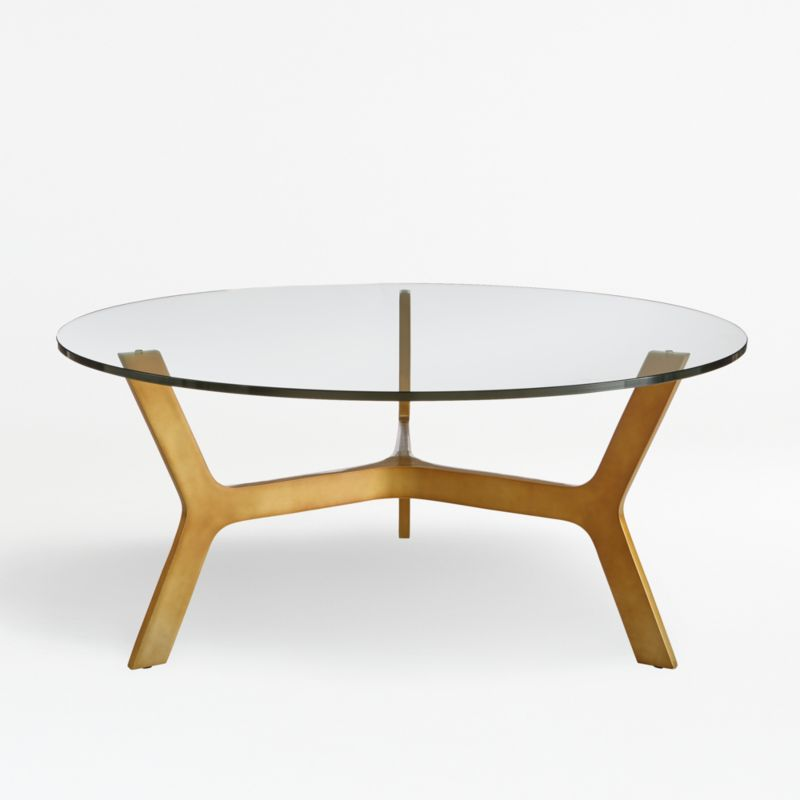Elke Round Glass Coffee Table With Brass Base + Reviews Crate And Barrel
