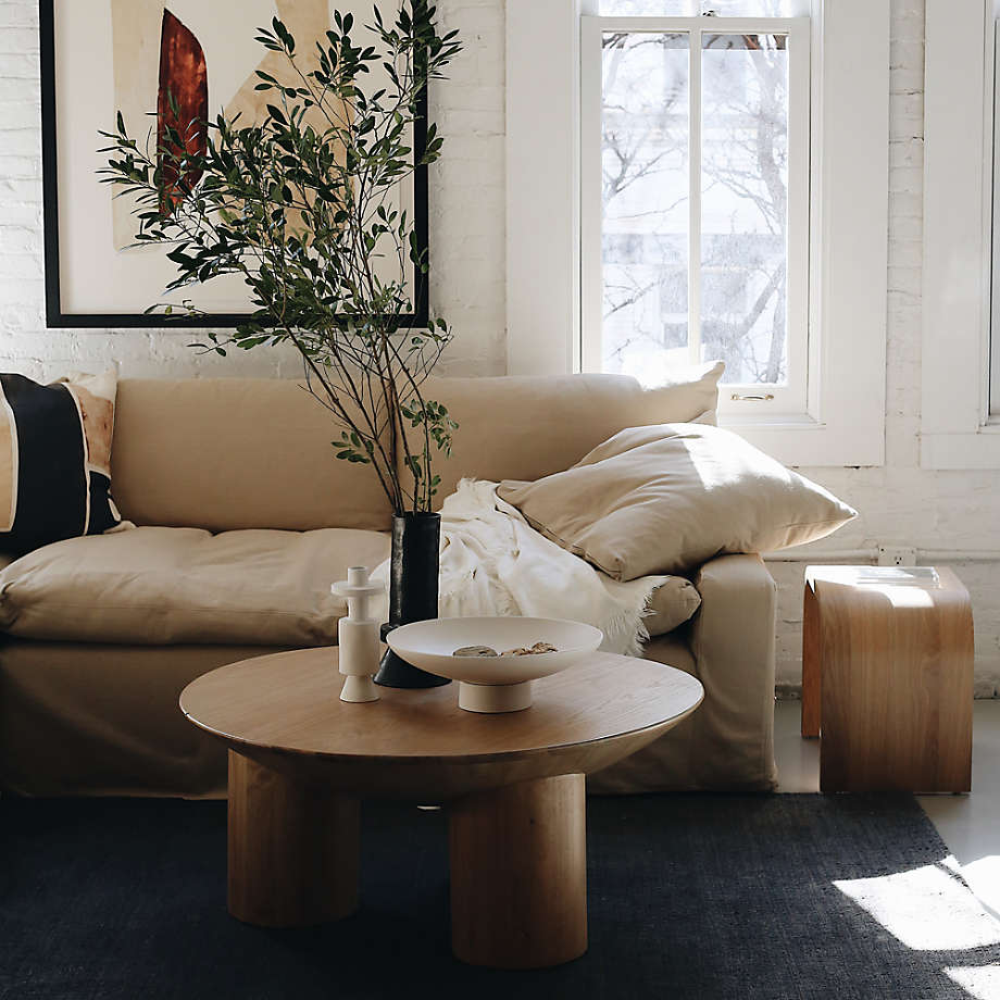 Ever Sofa (designed by Leanne Ford for Crate & Barrel) in a neutral, laid back luxe living room with painted white brick walls. #leanneford #eversofa