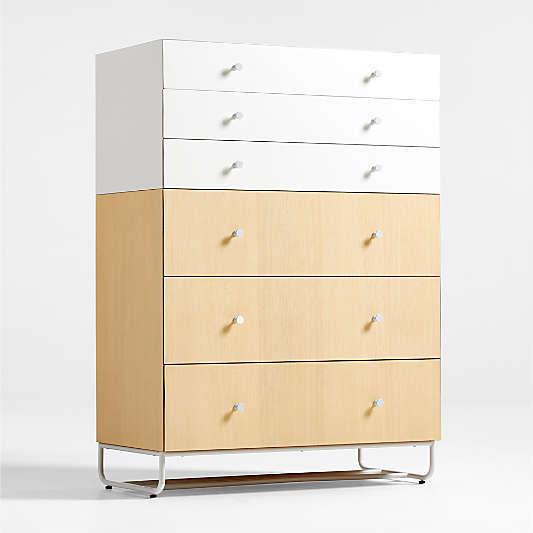 Fatcap Tall Two-Tone Natural Wood Dresser