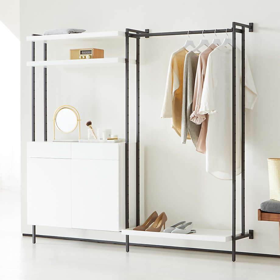 Flex Modular Clothing Rack and Closed Storage Cabinet with Shelves (Open Larger View)