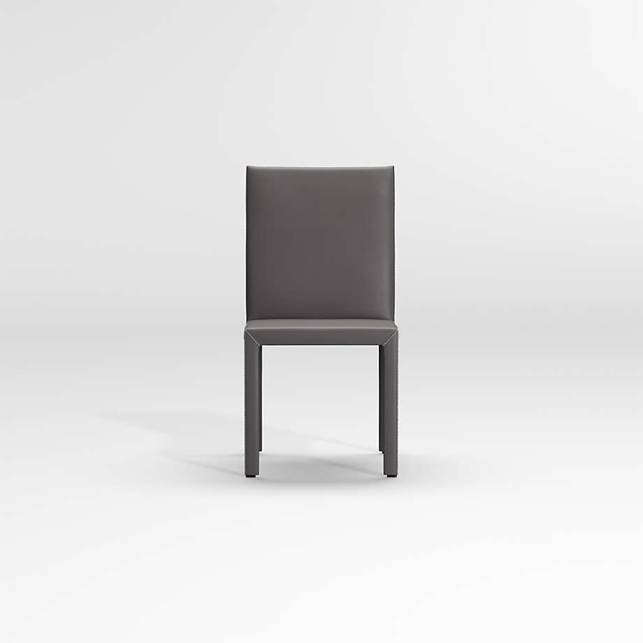 Folio Dark Grey Top Grain Leather Dining Chair + Reviews   Crate ...