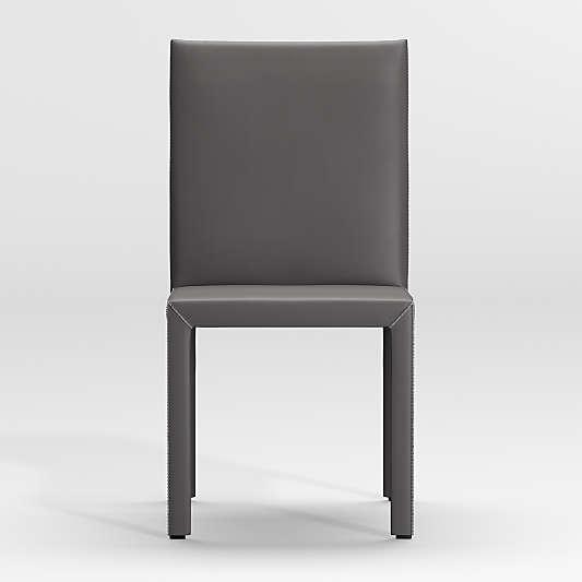 Folio Dark Grey Top-Grain Leather Dining Chair