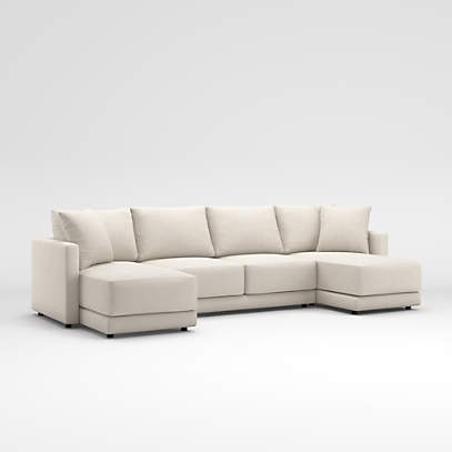 Gather 3 Piece Double Chaise Lounge, Crate And Barrel Lounge Sofa Reviews
