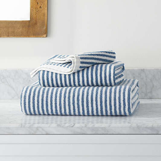 Hemi Organic Blue Stripe Bath Towels