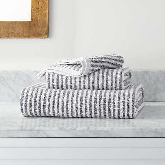 Hemi Organic Grey Stripe Bath Towels