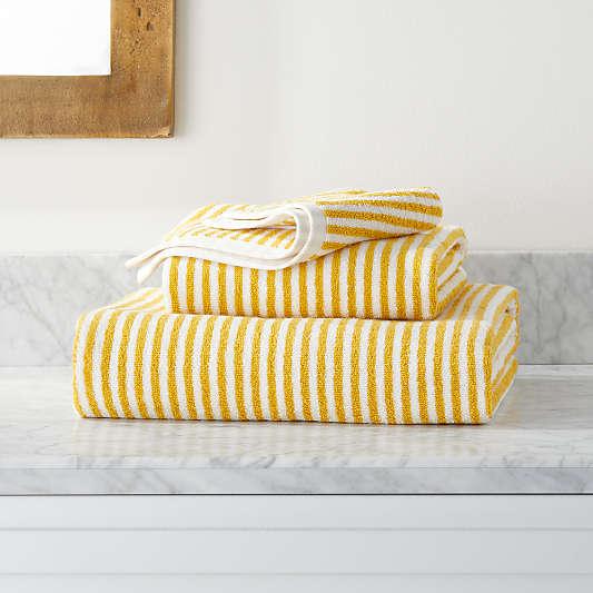 Hemi Organic Yellow Stripe Bath Towels