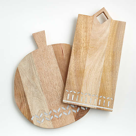 Isadore Marble Inlay Wood Serving Boards