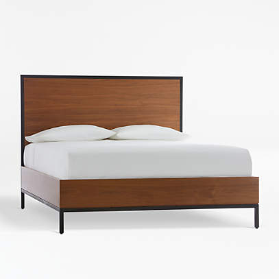 James Walnut With Black Frame Queen Bed, Walnut Queen Bed Base