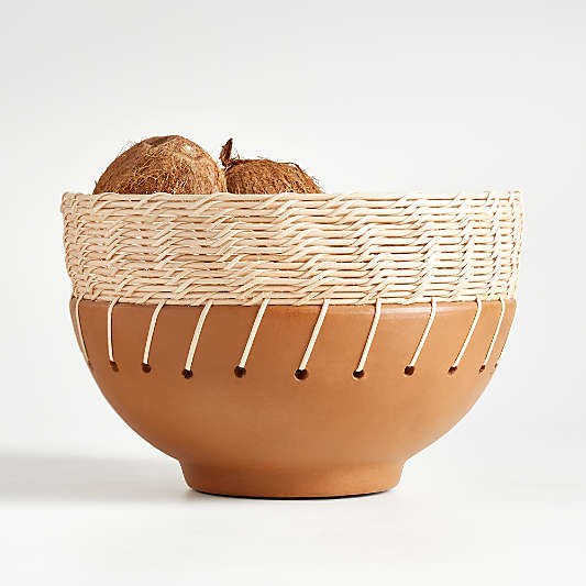 Kavir Rattan and Terracotta Bowl