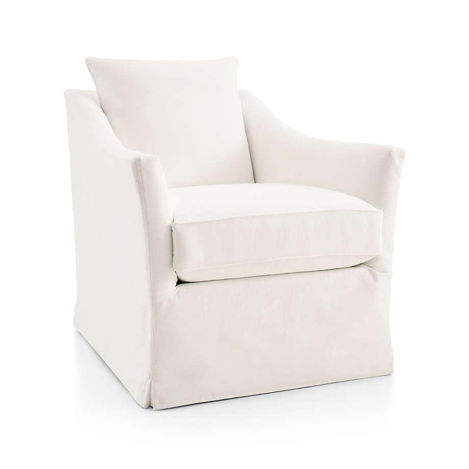 Keely Slipcovered Swivel Chair - Crate and Barrel. #slipcoveredchairs #swivelarmchair