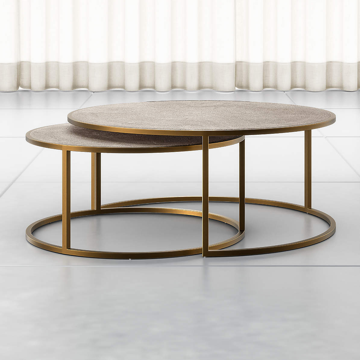 Keya Antique Brass Nesting Coffee Tables Reviews Crate And Barrel Canada