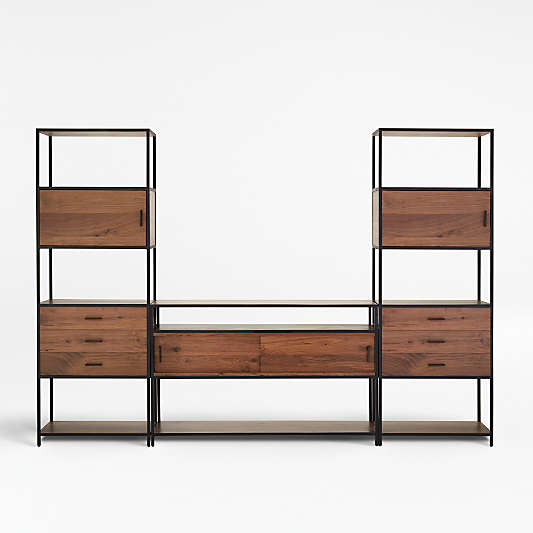 Knox Media Console with 2 Tall Storage Bookcases