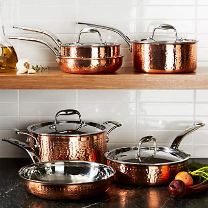 Lagostina Martellata Hammered Copper 10 Piece Cookware Set Reviews Crate And Barrel