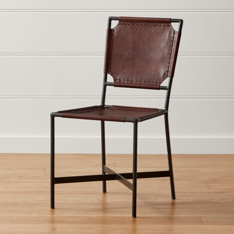 Laredo Brown Leather Dining Chair, Brown Leather Dining Chair