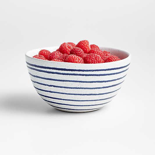 Lina Matte Blue Stripe Bowl