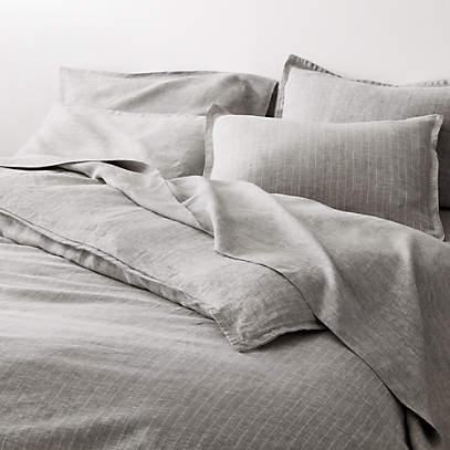 Pure Linen Pinstripe Grey Duvet Covers, Pure Linen Bedding Canada