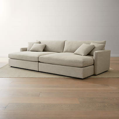 Lounge Deep 2 Piece Double Chaise, Oversized Sectional Sofas With Chaise