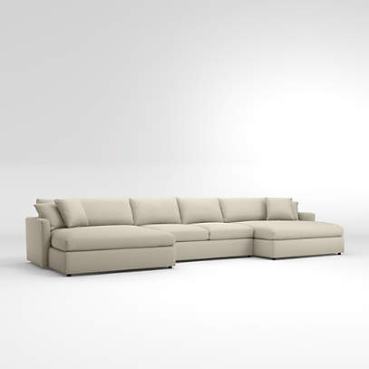 3 Piece Double Chaise Sectional Sofa, Oversized Sectional Sofas With Chaise