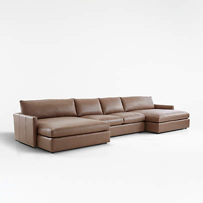 Lounge Leather 3 Piece Double Chaise, Double Leather Sofa Bed