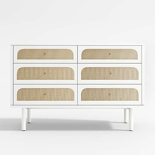 Maren White Cane Dresser