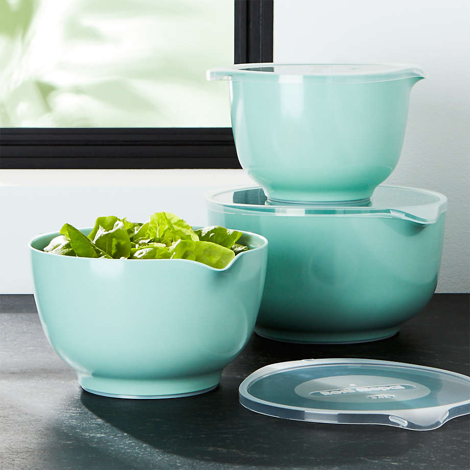 Rosti Retro Green Melamine Mixing Bowls with Lids Set (Open Larger View)